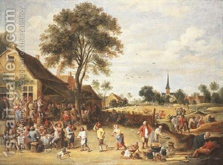 A wedding feast outside a village inn by (after) David The Younger Teniers - Reproduction Oil Painting