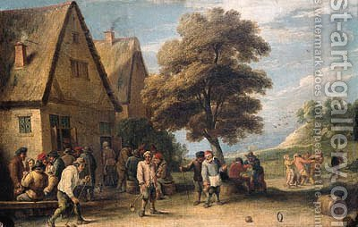 Boors playing ringball by an inn in a landscape by (after) David The Younger Teniers - Reproduction Oil Painting