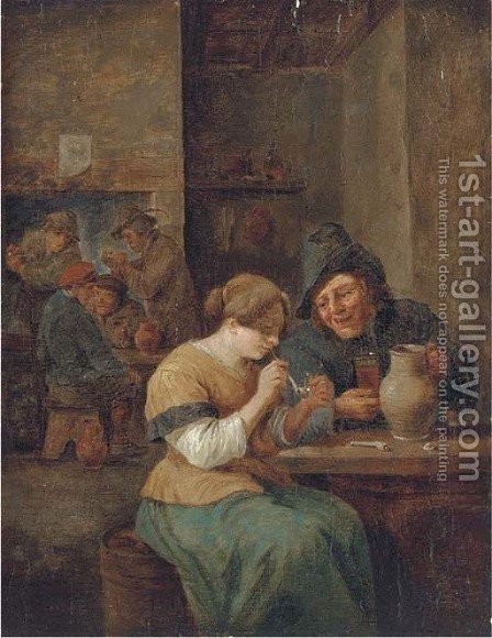 Peasants smoking and drinking in a tavern 2 by (after) David The Younger Teniers - Reproduction Oil Painting
