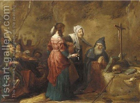 The Temptation of Saint Antony by (after) David The Younger Teniers - Reproduction Oil Painting