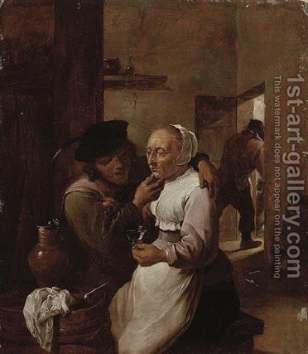 Unequal Love by (after) David The Younger Teniers - Reproduction Oil Painting