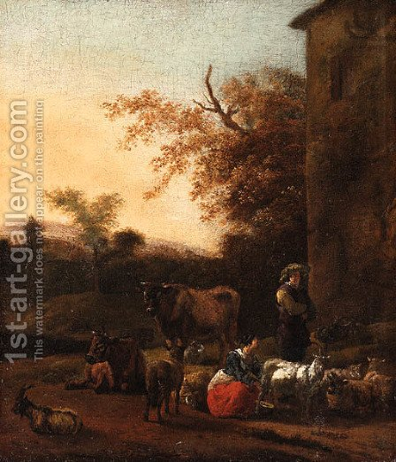 An Italianate Landscape with a Milkmaid and a Herdsman beside a Villa by (after) Dirck Van Bergen - Reproduction Oil Painting