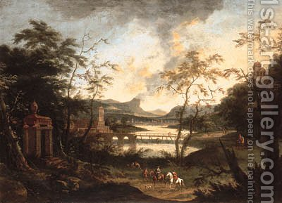 An extensive river landscape with a hunting party on a track by (after) Dirck Maas - Reproduction Oil Painting