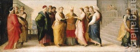 The Marriage of the Virgin by (after) Domenico Beccafumi - Reproduction Oil Painting