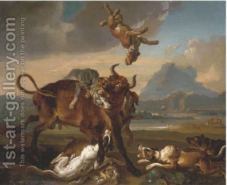 Hounds attacking a bull by (after) Domenico Brandi - Reproduction Oil Painting
