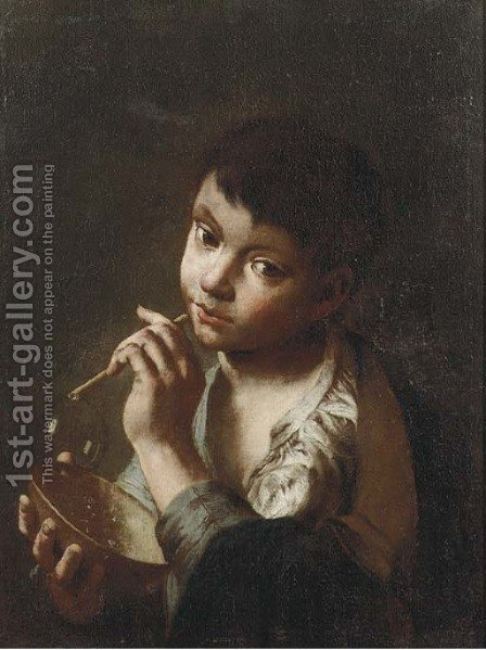 A young beggar boy blowing bubbles by (after) Domenico Maggiotto - Reproduction Oil Painting