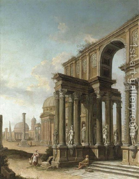 A capriccio of Roman ruins, with the Pantheon, the Column of Trajan and other buildings and figures by (after) Domenico Roberti - Reproduction Oil Painting