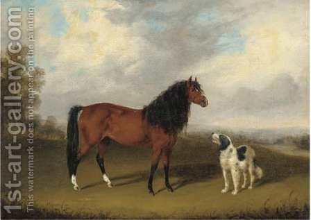 A chestnut horse with a dog in an extensive landscape by (after) Edmund Bristow - Reproduction Oil Painting