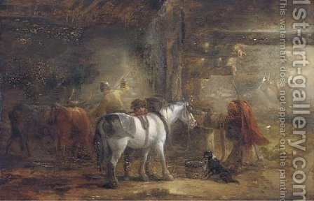 In the stable yard by (after) Edmund Bristow - Reproduction Oil Painting