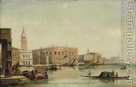 Gondolas before the Doge's Palace, Venice by (after) Edward Pritchett - Reproduction Oil Painting