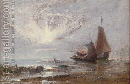 Loading the boats at low tide by (after) Edwin Hayes - Reproduction Oil Painting