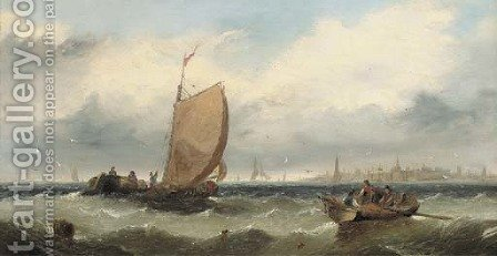 Fishermen hauling in their nets by (after) Edwin Hayes - Reproduction Oil Painting