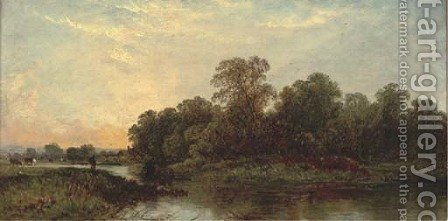 A river landscape at sunset by (after) Edwin Henry Boddington - Reproduction Oil Painting