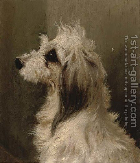 A long-haired white terrier by (after) Edwin Loder - Reproduction Oil Painting