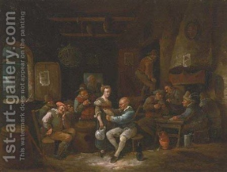 Boors drinking and gambling in a tavern by (after) Egbert Van, The Younger Heemskerck - Reproduction Oil Painting