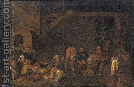 Peasants in a kitchen by (after) Egbert Van Heemskerck - Reproduction Oil Painting