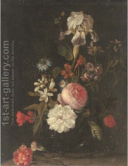 Carnations, narcissi, roses, an iris and other flowers in a glass vase on a ledge by (after) Elias Van Den Broeck - Reproduction Oil Painting