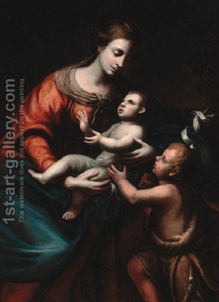 The Madonna and Child with the Infant Saint John the Baptist by (after) Enea Talpino, Called Il Salmeggia - Reproduction Oil Painting