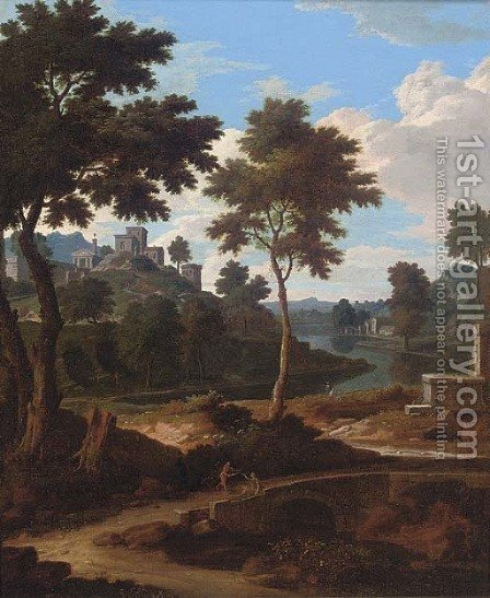 An extensive Italianate river landscape with two men resting on a bridge by (after) Etienne Allegrain - Reproduction Oil Painting