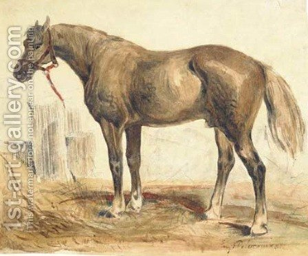 A bay stallion in profile to the right by (after) Eugene Delacroix - Reproduction Oil Painting