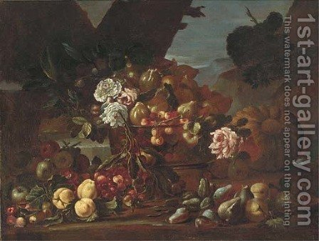 Cherries, figs, and roses in a glass bowl with apples, figs and cherries on a ledge in a clearing by (after) Felice Rubbiani - Reproduction Oil Painting