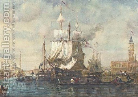 Docking in Venice before the Doge's Palace by (after) Felix-Francois-Georges-Philibert Ziem - Reproduction Oil Painting