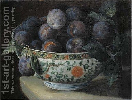 Plums in a Chinese porcelain bowl on a table ledge by (after) Alexandre-Francois Desportes - Reproduction Oil Painting