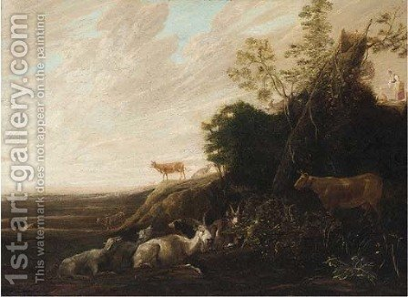A landscape with cattle in the foreground by (after) Francois Ryckhals - Reproduction Oil Painting