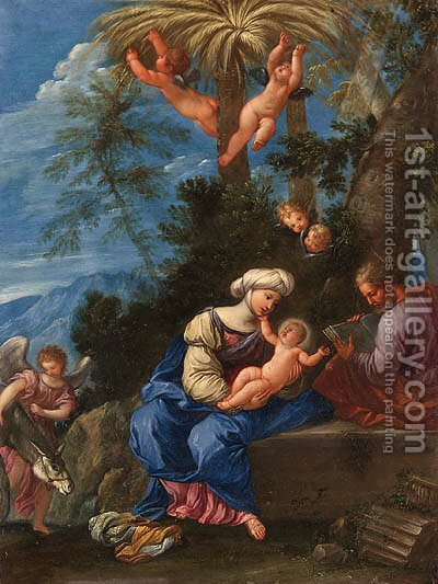 The Rest on the Flight into Egypt by (after) Francesco Albani - Reproduction Oil Painting
