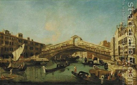 The Grand Canal, Venice, with the Rialto Bridge by (after) Francesco Albotto - Reproduction Oil Painting