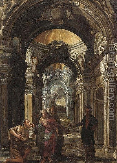 Christ healing the blind man by (after) Francesco Battaglioli - Reproduction Oil Painting