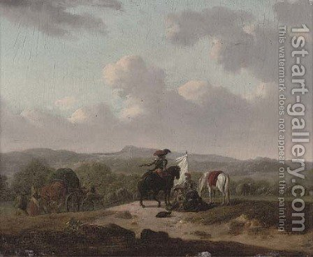 Soldiers on horseback resting by a track with caravans, a landscape beyond by (after) Francesco Giuseppe Casanova - Reproduction Oil Painting