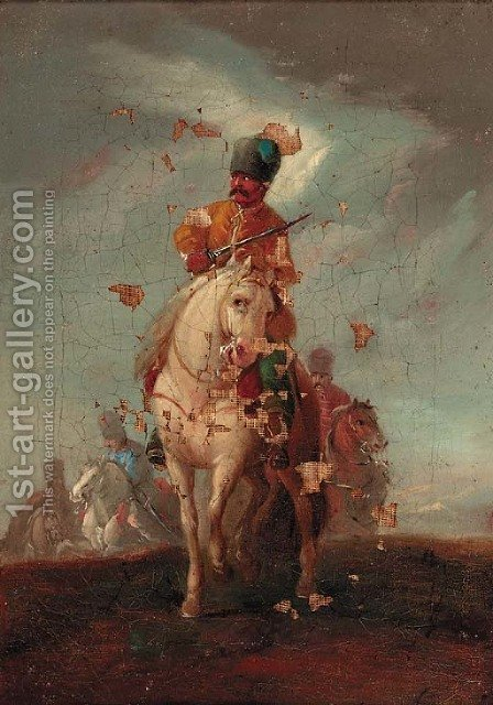 A cavalryman 2 by (after) Francesco Simonini - Reproduction Oil Painting