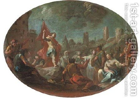 A bozzetto Saint George after his triumph over the dragon by (after) Francesco Solimena - Reproduction Oil Painting