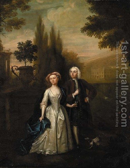 A lady and gentleman in the grounds of a country villa by (after) Hayman, Francis - Reproduction Oil Painting