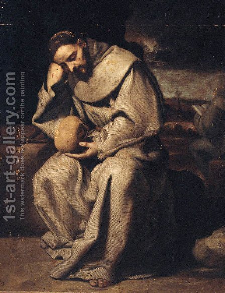 Saint Francis in meditation by (after) Francisco Ribalta - Reproduction Oil Painting