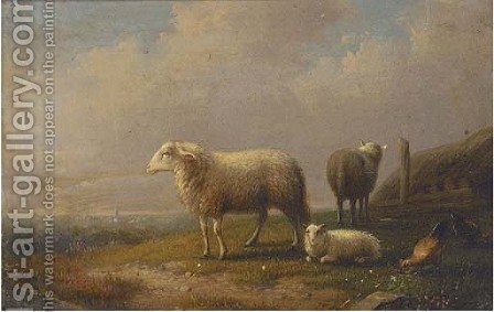 Sheep and chickens in a meadow, a town beyond by (after) Francois Vandeverdonck - Reproduction Oil Painting