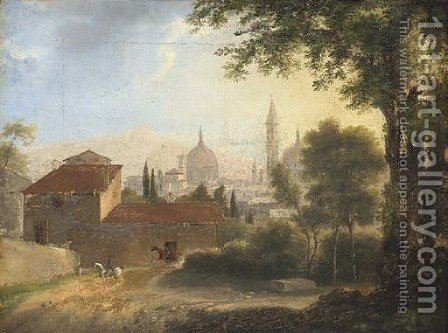 A view of Florence with horsemen on a track in the foreground by (after) Fabre, Francois Xavier - Reproduction Oil Painting