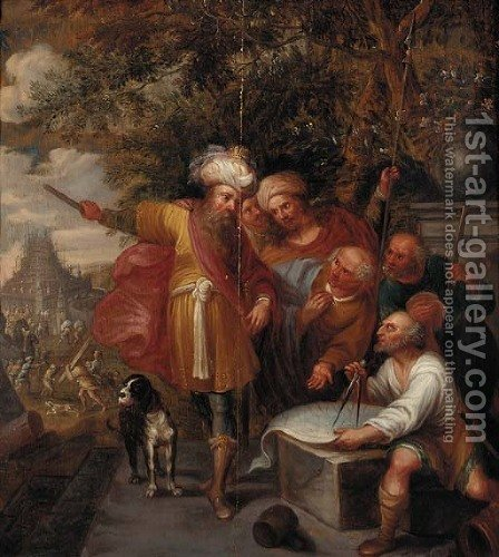 Nimrod and the Tower of Babel by (after) Frans II Francken - Reproduction Oil Painting