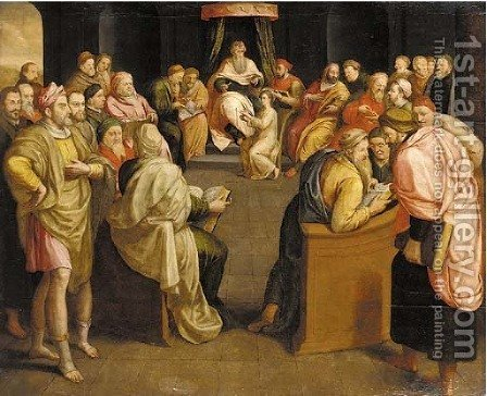 Christ among the Doctors by (after) Frans, The Elder Pourbus - Reproduction Oil Painting
