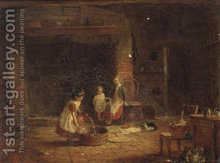 Children preparing a tub in a cottage interior by (after) Frederick Daniel Hardy - Reproduction Oil Painting