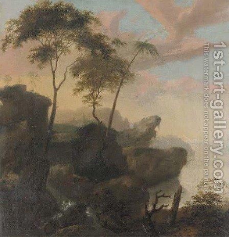 A rocky river landscape by (after) Frederick De Moucheron - Reproduction Oil Painting