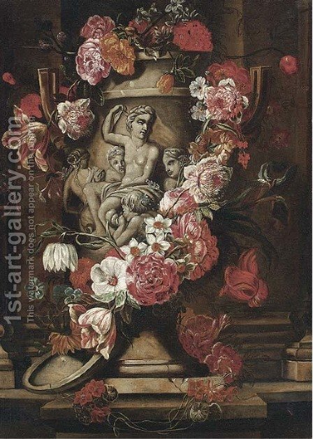 Roses, parrot tulips, morning glory, carnations and other flowers in a sculpted stone vase on a ledge by (after) Caspar Pieter II Verbrugghen - Reproduction Oil Painting