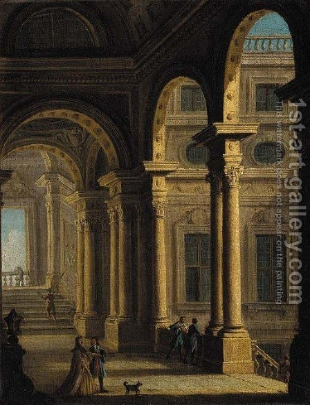 A classical colonnade with figures by (after) Gennaro Grecco Called Mascacotta - Reproduction Oil Painting