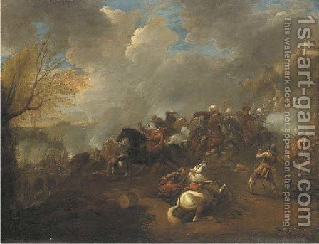 A cavalry battle 2 by (after) Rugendas, Georg Philipp I - Reproduction Oil Painting