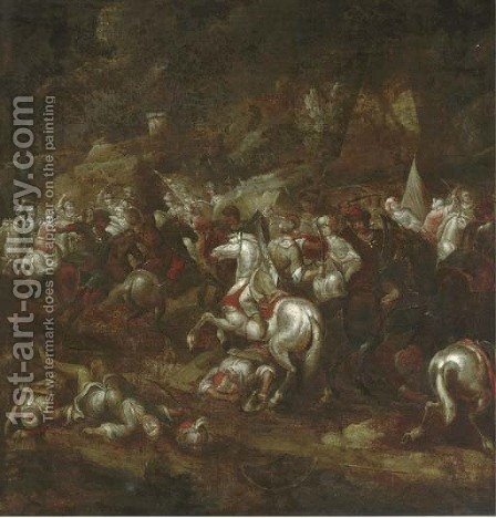 A cavalry battle 3 by (after) Rugendas, Georg Philipp I - Reproduction Oil Painting