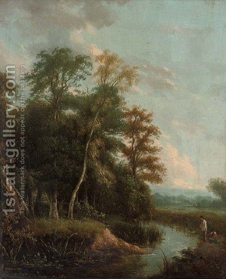 Anglers on a river bank in an evening landscape by (after) George Augustus Williams - Reproduction Oil Painting