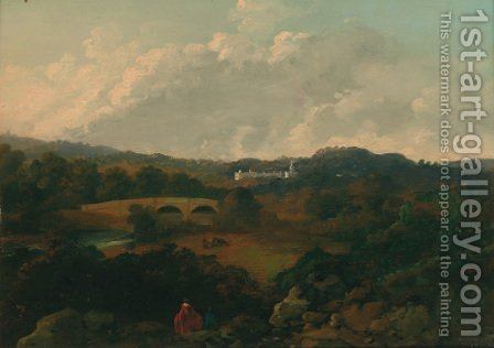 An extensive landscape with a country house beyond and figures in the foreground by (after) George Cubitt - Reproduction Oil Painting