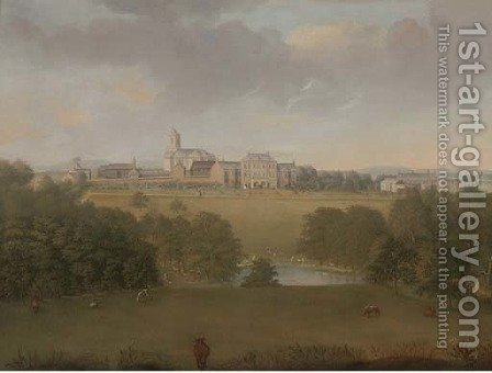 Cattle grazing before a country house by (after) George Cuitt - Reproduction Oil Painting