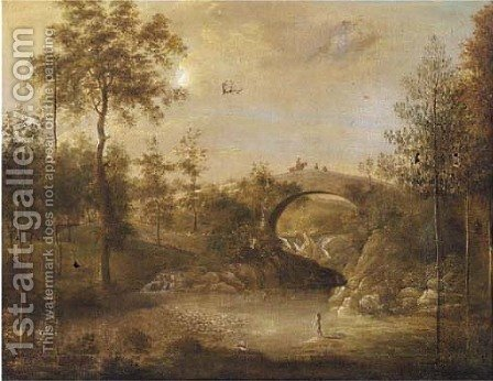 Figures bathing under a bridge in a wooded landscape by (after) George Cuitt - Reproduction Oil Painting
